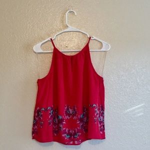 Francesca's Red Floral Halter Top 🌺 Small